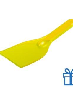 Plastic ijskrabber goedkoop geel bedrukken