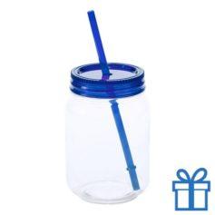 Plastic jar drinkbeker blauw bedrukken