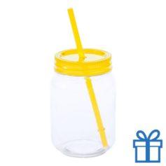 Plastic jar drinkbeker geel bedrukken