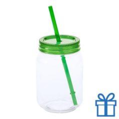 Plastic jar drinkbeker groen bedrukken