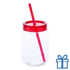 Plastic jar drinkbeker rood bedrukken