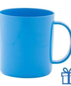 Plastic mok blauw bedrukken