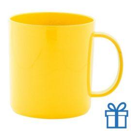 Plastic mok geel bedrukken