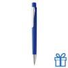 Plastic pen zilverkleur clip blauw