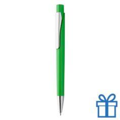 Plastic pen zilverkleur clip groen