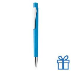 Plastic pen zilverkleur clip lichtblauw