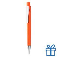 Plastic pen zilverkleur clip oranje bedrukken