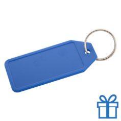 Plastic sleutelhanger label blauw bedrukken