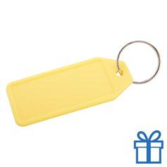 Plastic sleutelhanger label geel bedrukken
