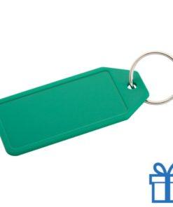 Plastic sleutelhanger label groen bedrukken