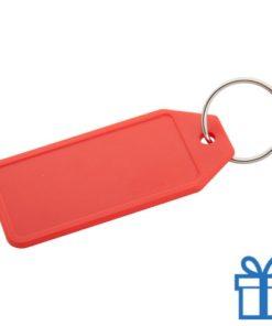 Plastic sleutelhanger label rood bedrukken
