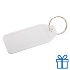 Plastic sleutelhanger label wit bedrukken