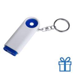 Plastic sleutelhanger munt LED blauw bedrukken