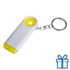 Plastic sleutelhanger munt LED geel bedrukken