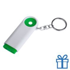 Plastic sleutelhanger munt LED groen bedrukken