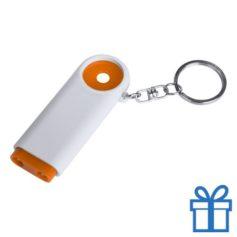 Plastic sleutelhanger munt LED oranje bedrukken