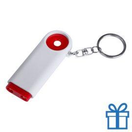 Plastic sleutelhanger munt LED rood bedrukken