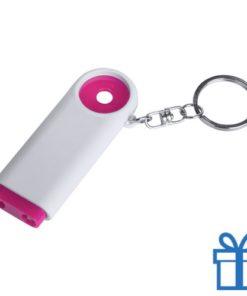 Plastic sleutelhanger munt LED roze bedrukken
