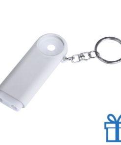 Plastic sleutelhanger munt LED wit bedrukken