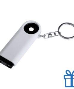 Plastic sleutelhanger munt LED zwart bedrukken