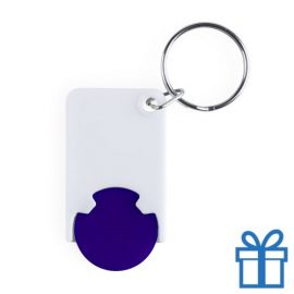 Plastic sleutelhanger munt blauw bedrukken