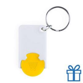 Plastic sleutelhanger munt geel bedrukken