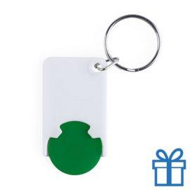 Plastic sleutelhanger munt groen bedrukken
