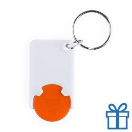 Plastic sleutelhanger munt oranje bedrukken