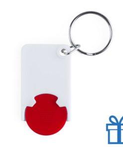 Plastic sleutelhanger munt rood bedrukken