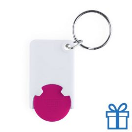 Plastic sleutelhanger munt roze bedrukken