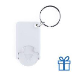 Plastic sleutelhanger munt wit bedrukken