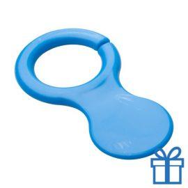 Plastic sleutelhanger winkelwagenmunt blauw bedrukken