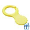 Plastic sleutelhanger winkelwagenmunt geel bedrukken
