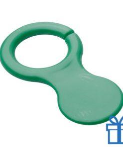 Plastic sleutelhanger winkelwagenmunt groen bedrukken
