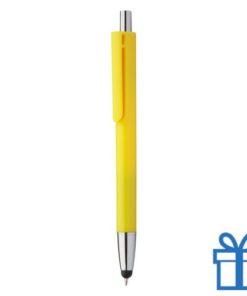 Plastic touch balpen gekleurde loop geel bedrukken