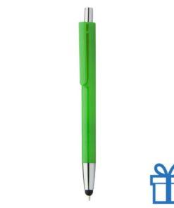 Plastic touch balpen gekleurde loop groen bedrukken