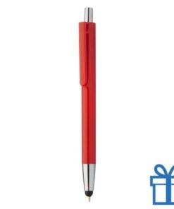 Plastic touch balpen gekleurde loop rood bedrukken