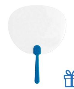 Plastic transparante waaier blauw bedrukken
