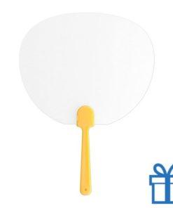 Plastic transparante waaier geel bedrukken