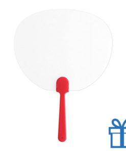 Plastic transparante waaier rood bedrukken