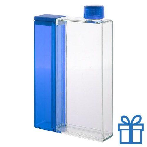Plastic waterfles rechthoekig blauw bedrukken