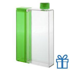 Plastic waterfles rechthoekig groen bedrukken