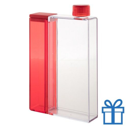 Plastic waterfles rechthoekig rood bedrukken