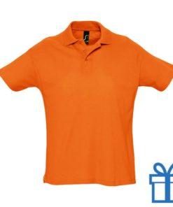 Polo 3 knopen L oranje bedrukken