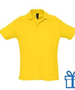 Polo 3 knopen M geel bedrukken