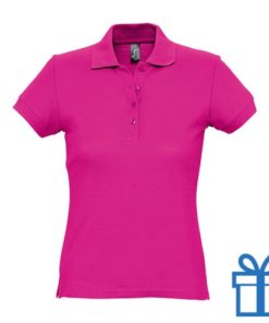Polo shirt dames 4 knopen L roze bedrukken