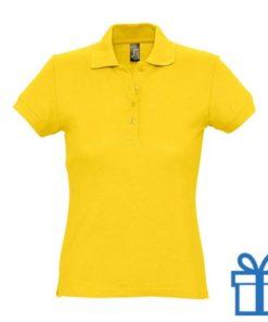 Polo shirt dames 4 knopen M geel bedrukken
