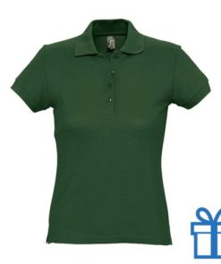 Polo shirt dames 4 knopen M groen bedrukken