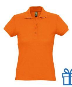 Polo shirt dames 4 knopen M oranje bedrukken