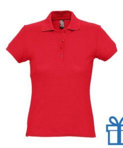 Polo shirt dames 4 knopen M rood bedrukken